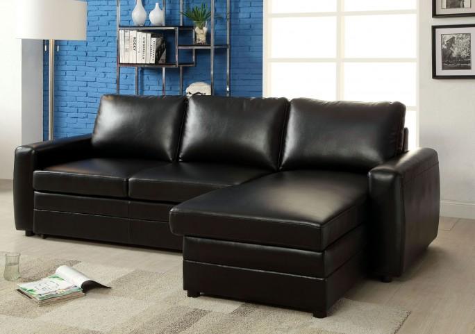 Salem Black Bonded Leather Match Sectional