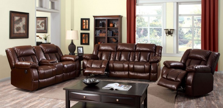 Wimbledon Brown Power Reclining Living Room Set From Furniture Of America CM