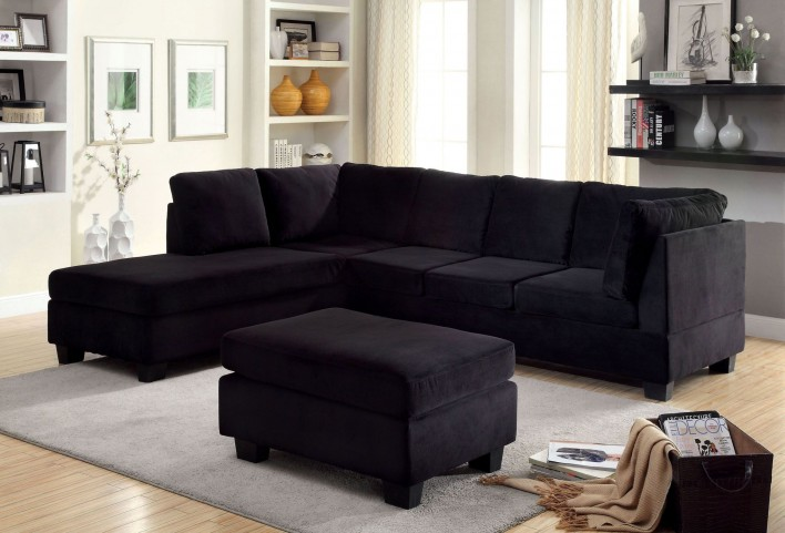 Lomma Black Flannelette Fabric Sectional