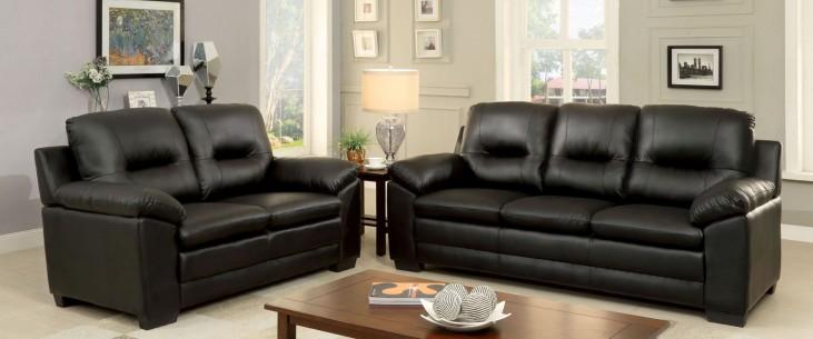 Parma Black Leatherette Living Room Set