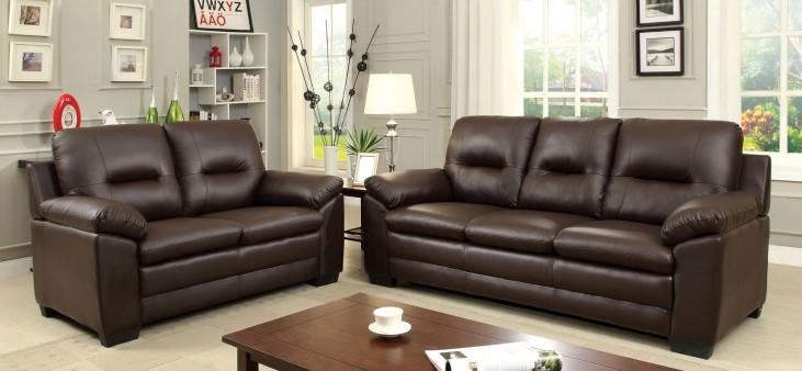 Parma Brown Leatherette Living Room Set