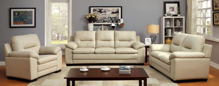 Parma Ivory Leatherette Living Room Set
