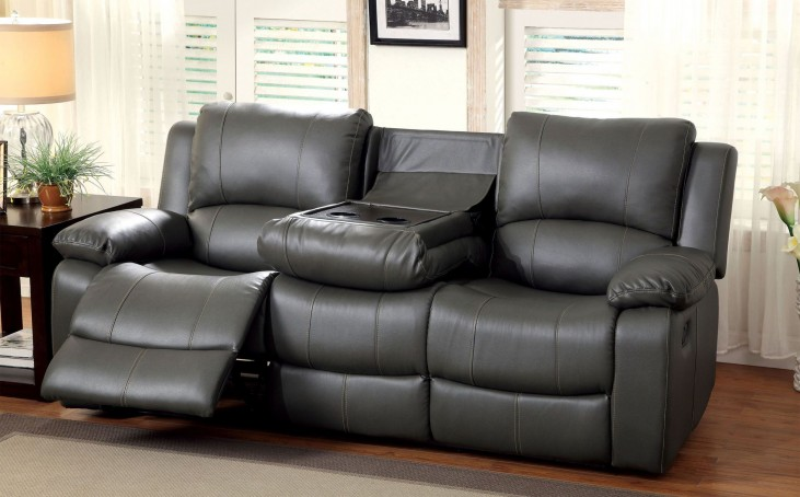 Sarles Gray Drop-Down Table Reclining Sofa