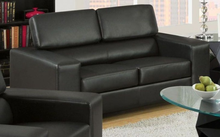 Makri Black Bonded Leather Match Loveseat