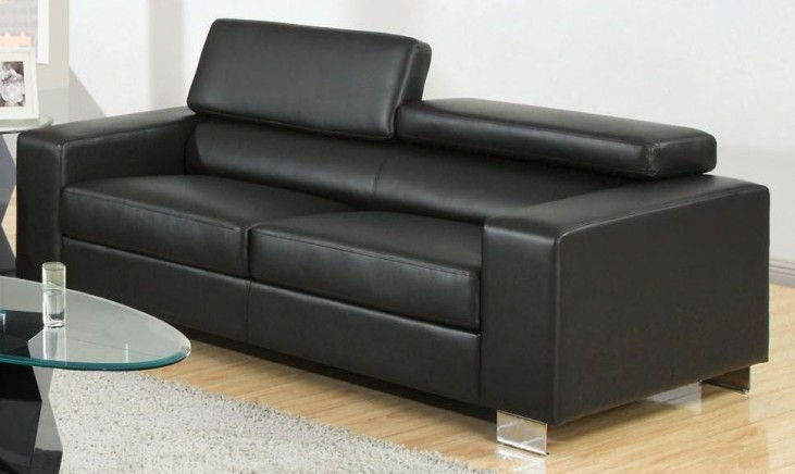 Makri Black Bonded Leather Match Sofa