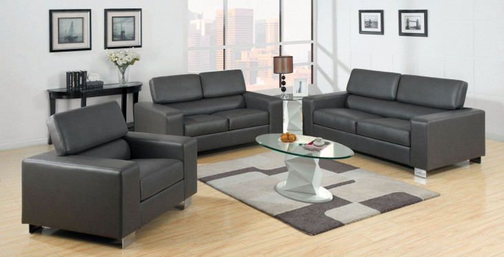 Makri Gray Bonded Leather Match Living Room Set