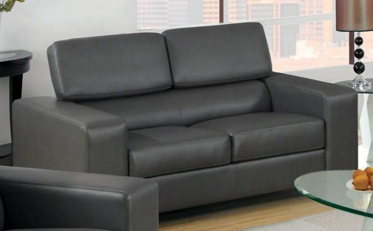 Makri Gray Bonded Leather Match Loveseat