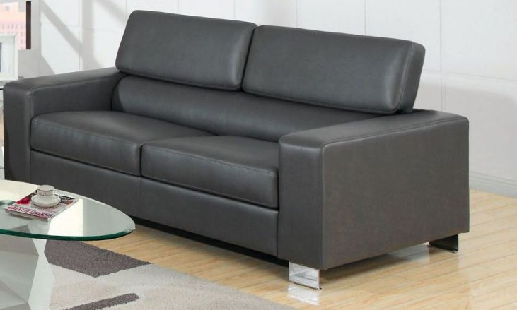 Makri Gray Bonded Leather Match Sofa