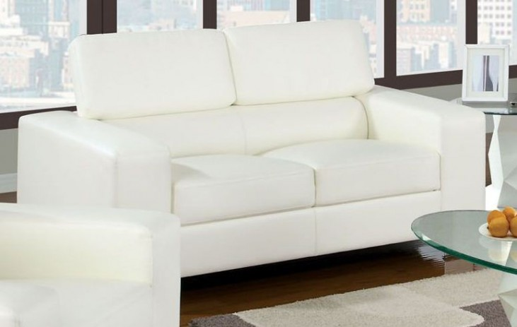 Makri White Bonded Leather Match Loveseat