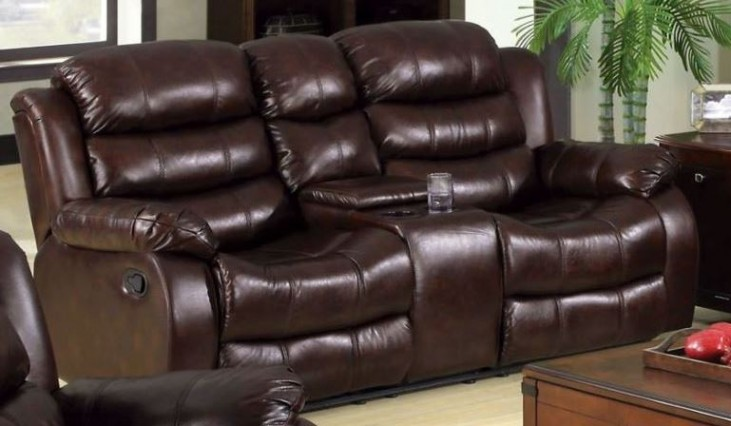 Berkshire Rustic Brown Reclining Loveseat with Console