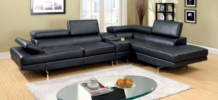 Kemi Black Bonded Leather Sectional