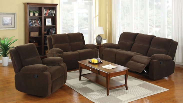 Haven Dark Brown Flannelette Reclining Living Room Set
