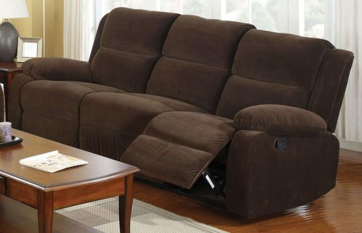 Haven Dark Brown Flannelette Reclining Sofa
