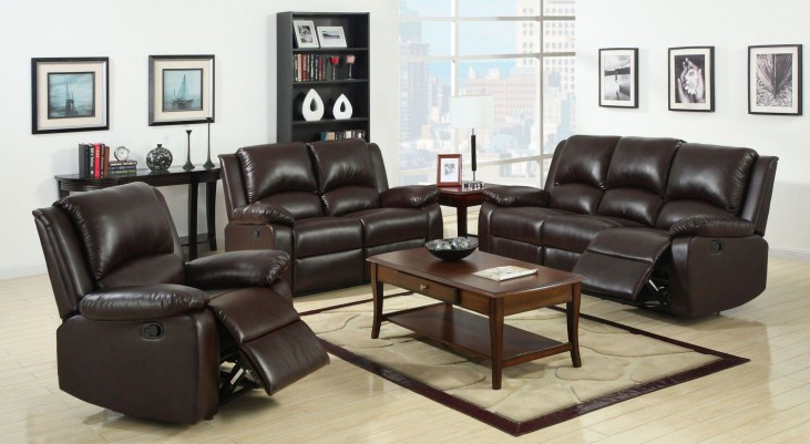 Oxford Rustic Dark Brown Leatherette Reclining Living Room Set
