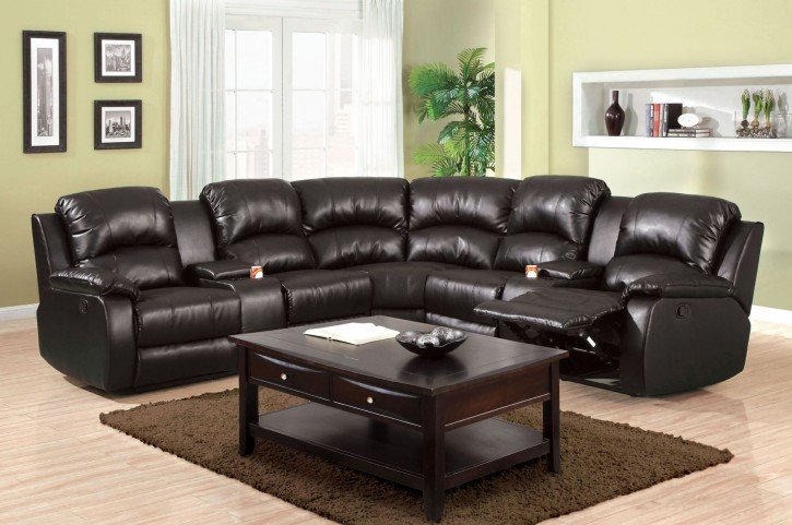 Aberdeen Black Bonded Leather Match Sectional