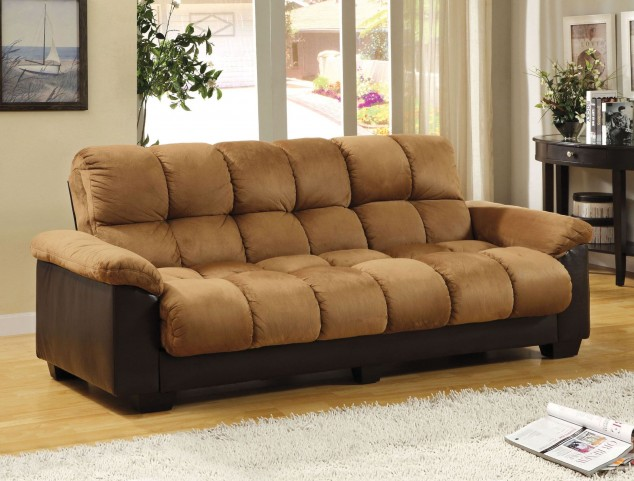 Brantford Tan and Espresso Elephant Skin Microfiber Futon Sofa