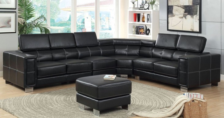 Garzon Black Bonded Leather Match Sectional