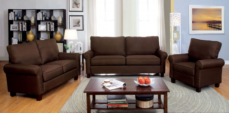 Hensel Brown Flax Fabric Living Room Set
