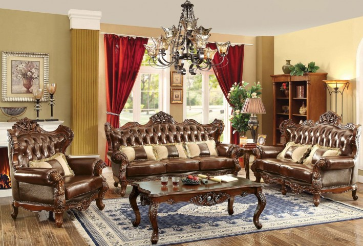 Jericho dark oak leather living room set cm6786 sf pk furniture of