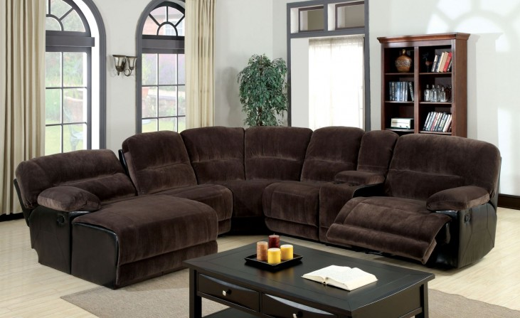 Glasgow Dark Brown Sectional With Console Table