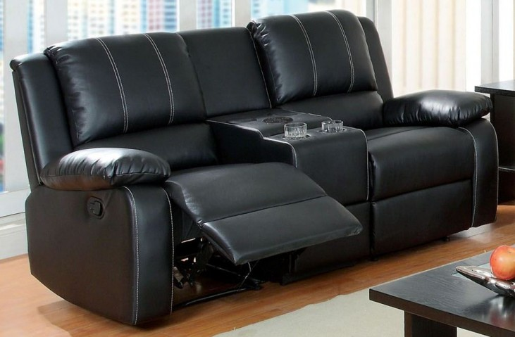 Gaffey Bonded Leather Match Reclining Loveseat with Console