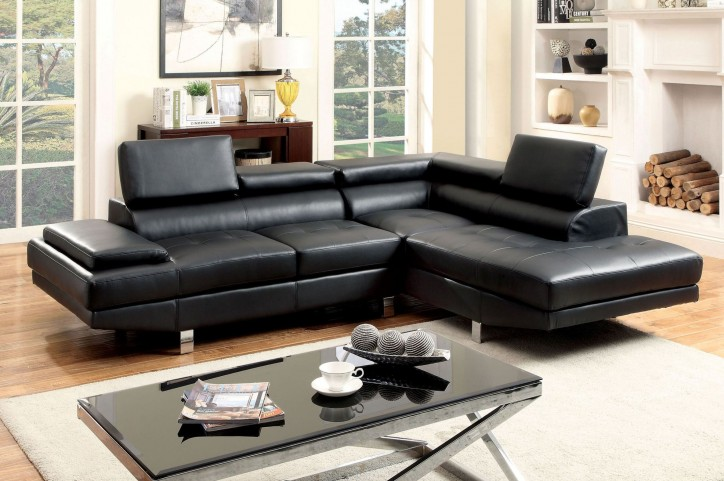 Kemina Black Bonded Leather Match Sectional