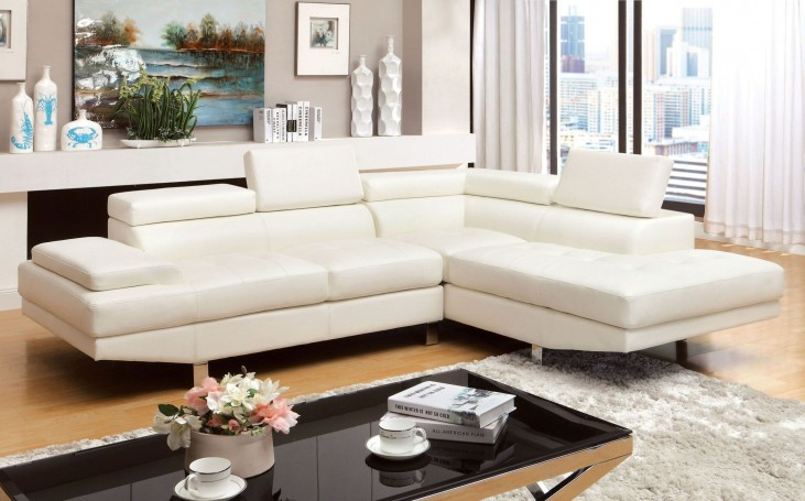 Kemina White Bonded Leather Match Sectional