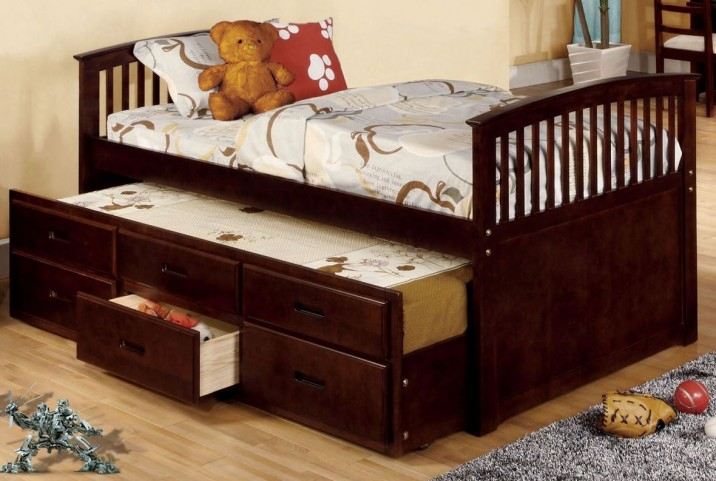 Bella II Cherry Full Panel Captain Trundle Storage Bed