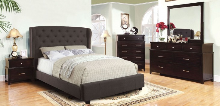 Fontes Gray Flax Fabric Bedroom Set