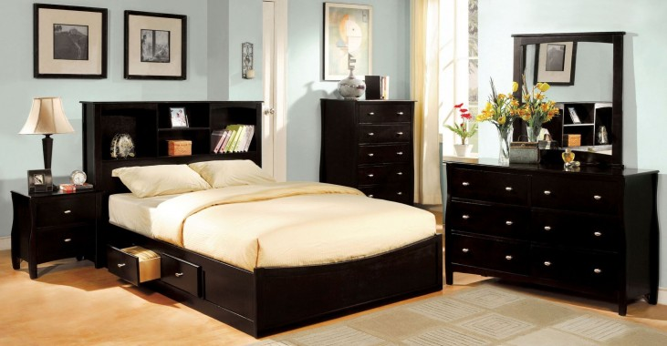 Brooklyn Espresso Bookcase Platform Bedroom Set