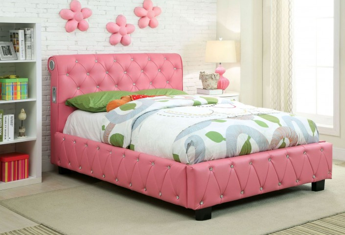 Juilliard Pink Leatherette Full Bed