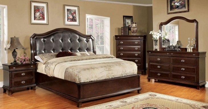 Arden Brown Cherry Faux Leather Bedroom Set