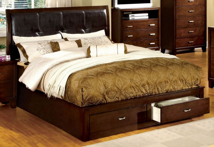 Enrico III Brown Cherry Leatherette Queen Storage Bed