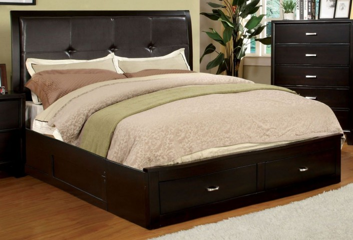 Enrico III Espresso Leatherette Queen Storage Bed
