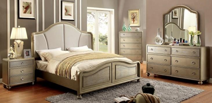 Nisha Gold Upholstered Panel Bedroom Set