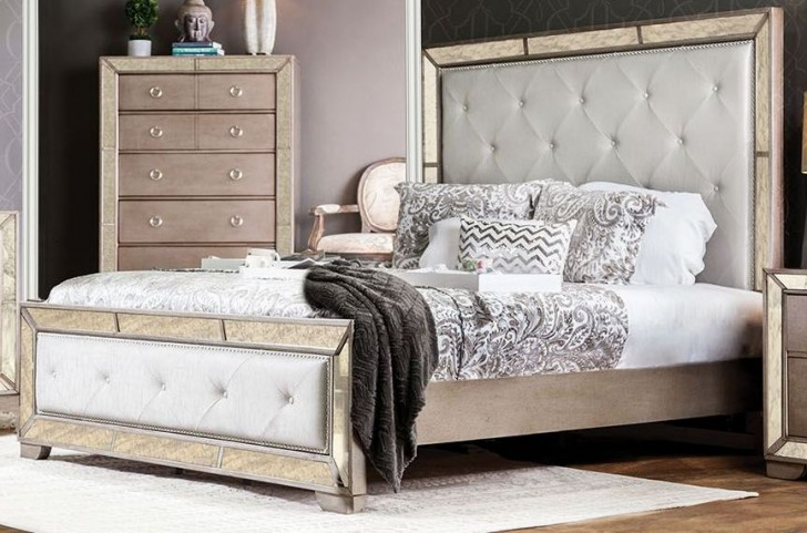 Loraine Silver Queen Upholstered Panel Bed