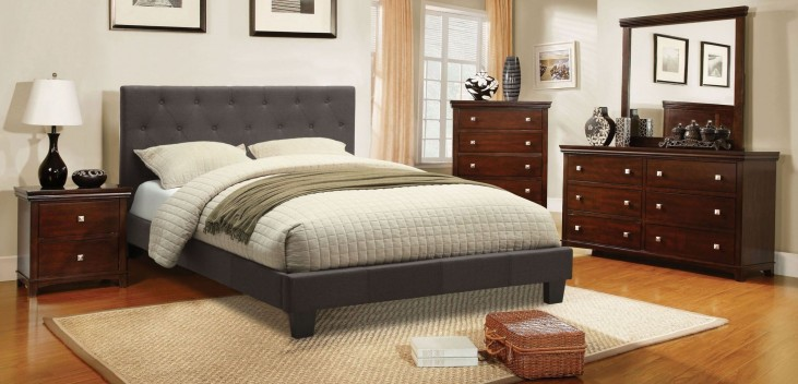 Leeroy Gray Fabric Platform Bedroom Set