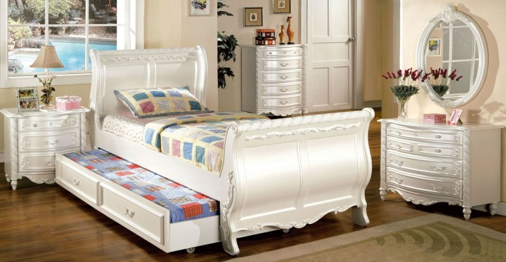 Alexandra Pearl White Youth Sleigh Bedroom Set