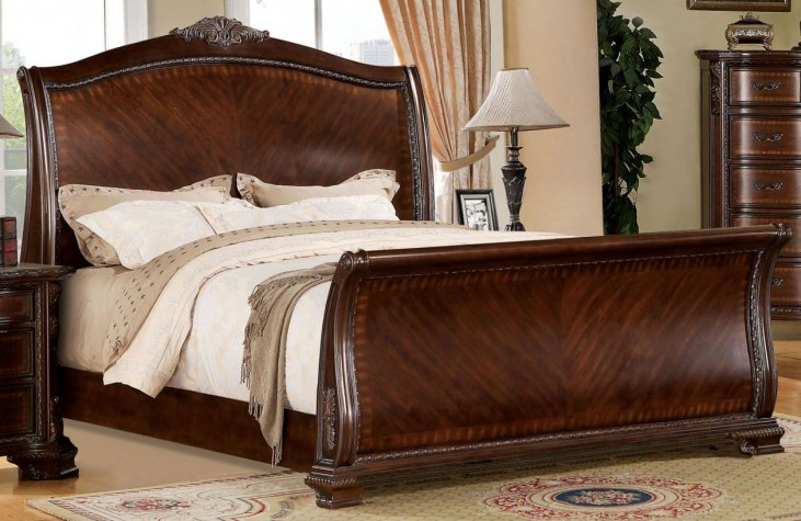Penbroke Brown Cherry Queen Sleigh Bed