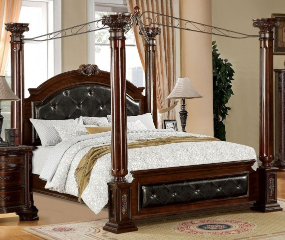 Mandalay Brown Cherry King Poster Canopy Bed