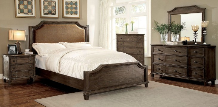 Halliday Wired Brushed Gray Panel Bedroom Set