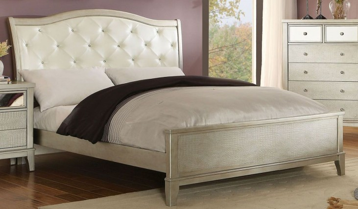 Adeline Silver Queen Upholstered Bed