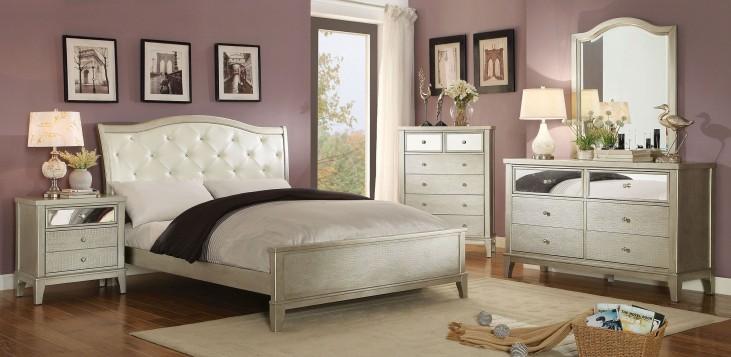 Adeline Silver Upholstered Bedroom Set