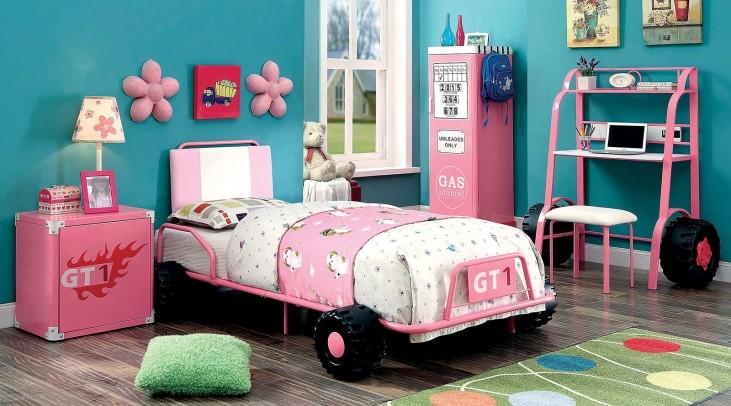 Power Racer Youth Size Metal Platform Car Bedroom Set