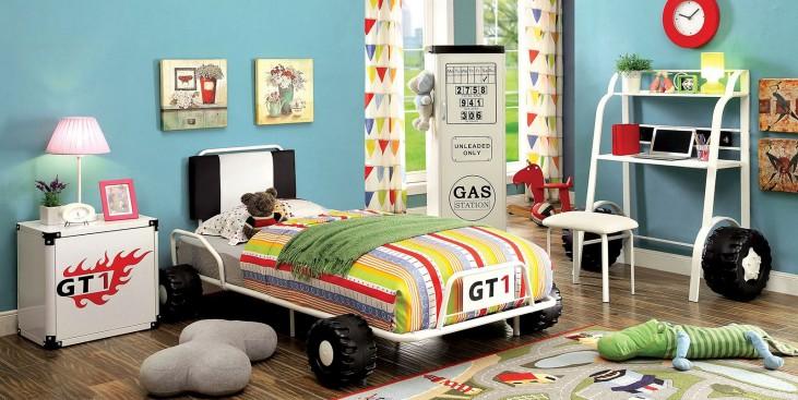 Power Racer Youth White Platform Bedroom Set