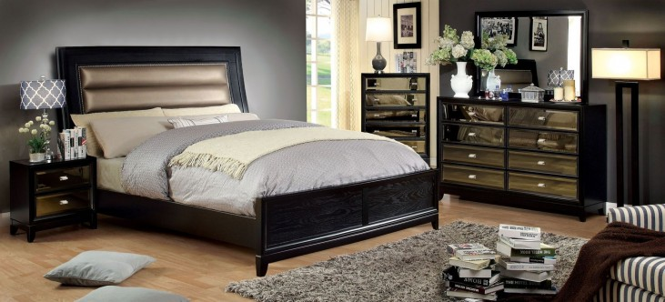 Golva Black Panel Bedroom Set