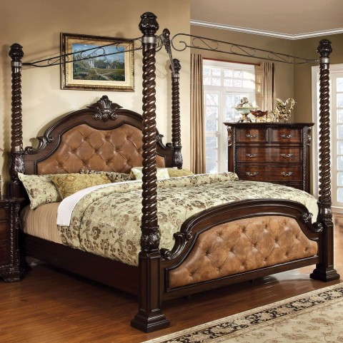 Monte Vista II Dark Brown Leatherette King Poster Canopy Bed