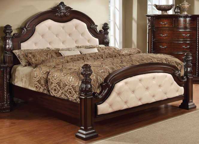 Monte Vista I Ivory Leatherette Queen Poster Bed