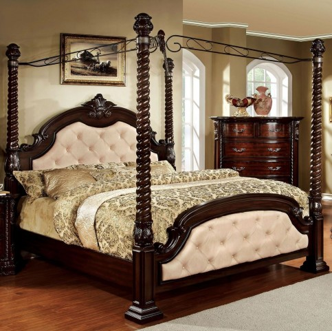 Monte Vista I Ivory Leatherette King Poster Canopy Bed