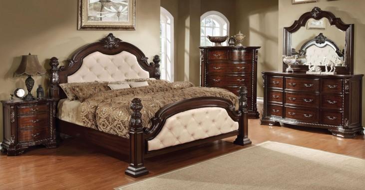 Monte Vista I Ivory Leatherette Poster Bedroom Set